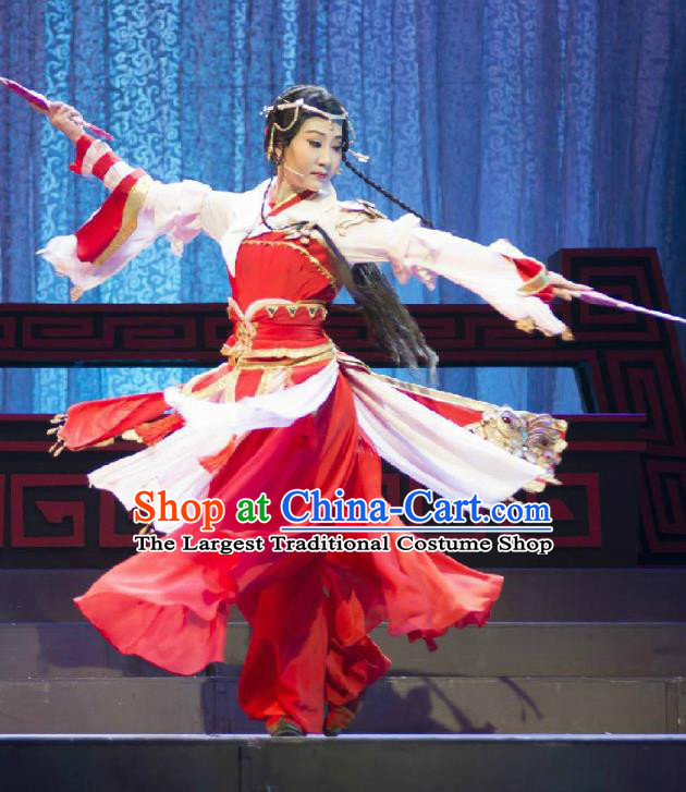 Chinese Cantonese Opera Young Lady Garment Fighting for the Great Tang Empire Costumes and Headdress Traditional Guangdong Opera Swordswoman Apparels Red Dress