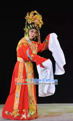 Chinese Cantonese Opera Noble Lady Garment Diao Man Gong Zhu Gan Fu Ma Costumes and Headdress Traditional Guangdong Opera Princess Fengxia Apparels Red Dress