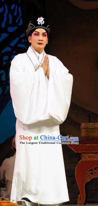 Diao Man Gong Zhu Gan Fu Ma Chinese Guangdong Opera Monk Apparels Costumes and Headpieces Traditional Cantonese Opera Young Male Garment Meng Feixiong Robe Clothing
