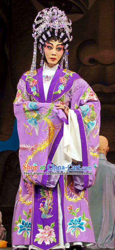 Chinese Cantonese Opera Hua Tan Garment Diao Man Gong Zhu Gan Fu Ma Costumes and Headdress Traditional Guangdong Opera Actress Apparels Princess Purple Dress