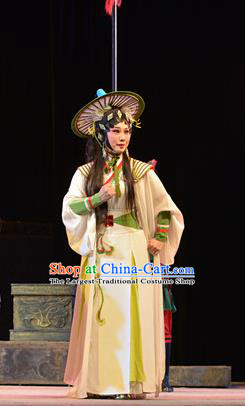 Chinese Cantonese Opera Young Lady Garment King of Nanyue Kingdom Costumes and Headdress Traditional Guangdong Opera Jin Di Apparels Village Girl Dress
