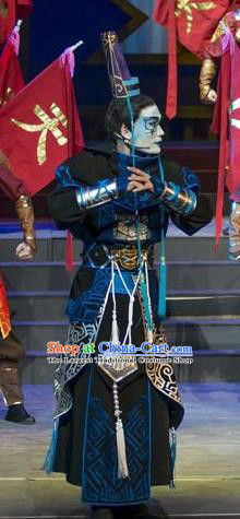 Fighting for the Great Tang Empire Chinese Guangdong Opera Hero Apparels Costumes and Headpieces Traditional Cantonese Opera Swordsman Garment Tang Men Clothing