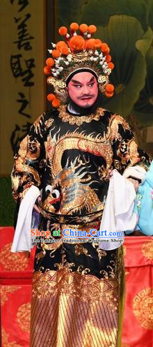 Chinese Guangdong Opera Imperial Envoy Cao Zibin Apparels Costumes and Headpieces Traditional Cantonese Opera Elderly Male Garment Official Clothing
