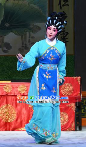 Chinese Cantonese Opera Young Beauty Garment Costumes and Headdress Traditional Guangdong Opera Actress Apparels Village Girl Zhuang Suqun Dress