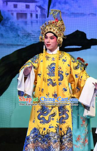 Chinese Guangdong Opera Monarch Apparels Costumes and Headpieces Traditional Cantonese Opera Young Male Garment Emperor Song Clothing