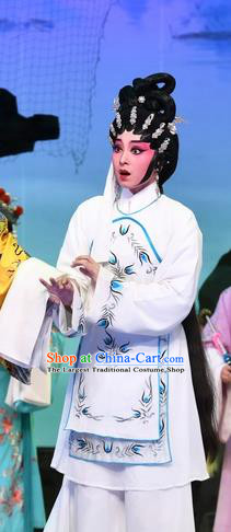 Chinese Cantonese Opera Country Girl Zhuang Suqun Garment Costumes and Headdress Traditional Guangdong Opera Actress Apparels Hua Tan White Dress