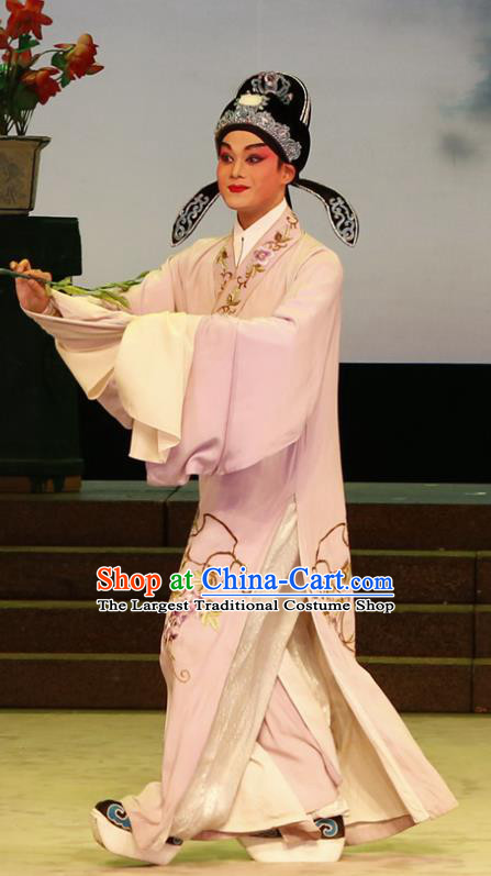 The Lotus Lantern Chinese Guangdong Opera Xiaosheng Apparels Costumes and Headpieces Traditional Cantonese Opera Niche Garment Scholar Liu Yanchang Clothing