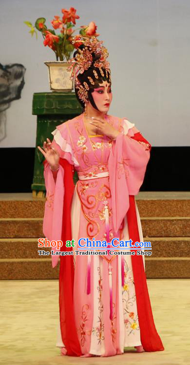 Chinese Cantonese Opera Hua Tan Garment The Lotus Lantern Costumes and Headdress Traditional Guangdong Opera Actress Apparels Goddess Dress