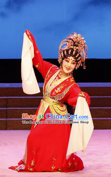 Chinese Cantonese Opera Goddess Red Garment The Lotus Lantern Costumes and Headdress Traditional Guangdong Opera Hua Tan Apparels Young Female Dress
