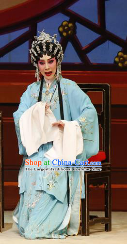Chinese Cantonese Opera Young Mistress Garment The Lotus Lantern Costumes and Headdress Traditional Guangdong Opera Actress Apparels Wang Guiying Blue Dress