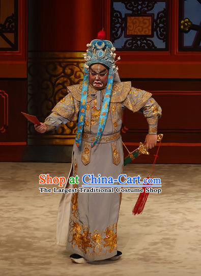 The Lotus Lantern Chinese Guangdong Opera Martial Male Apparels Costumes and Headpieces Traditional Cantonese Opera Wusheng Garment Warrior Clothing