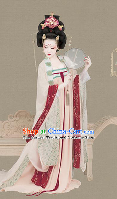 Chinese Traditional Tang Dynasty Imperial Concubine Historical Costumes Ancient Drama Court Woman Hanfu Dress Apparels and Headdress Complete Set