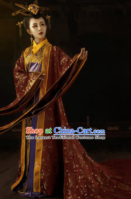 Chinese Traditional Han Dynasty Imperial Empress Historical Costumes Ancient Drama Royal Queen Hanfu Dress Apparels and Headdress for Women