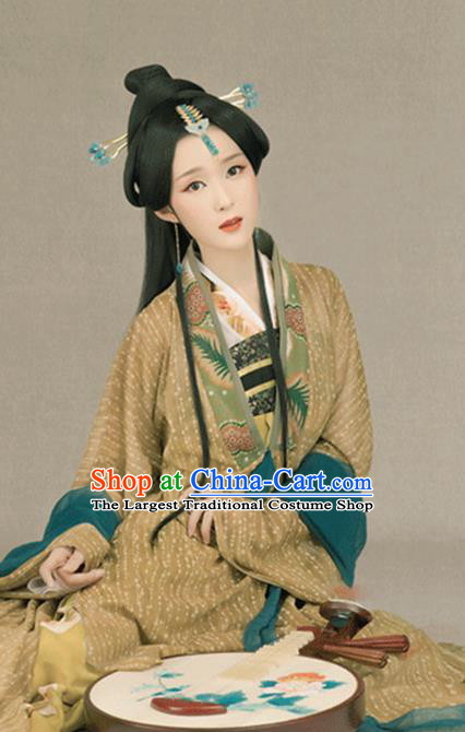 Chinese Traditional Tang Dynasty Palace Princess Historical Costumes Ancient Drama Noble Infanta Hanfu Dress Apparels and Headpieces Complete Set