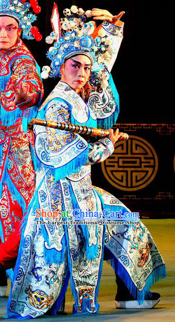 Qi Xing Temple Chinese Sichuan Opera Swordsman Apparels Costumes and Headpieces Peking Opera Highlights Martial Male Garment Wusheng Clothing