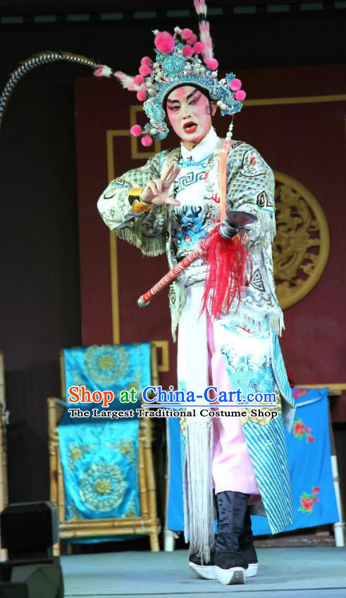 Feng Yi Pavilion Chinese Sichuan Opera Swordsman Lv Bu Apparels Costumes and Headpieces Peking Opera Highlights Wusheng Garment Martial Male Clothing
