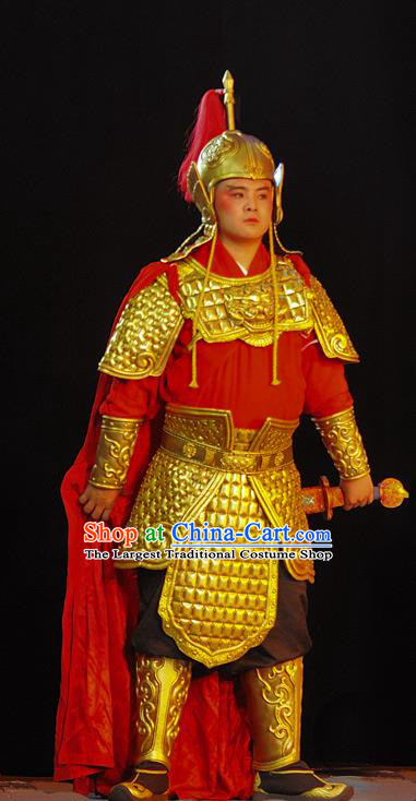 Wo Hu Ling Chinese Sichuan Opera Soldier Apparels Costumes and Headpieces Peking Opera Highlights Martial Male Garment Warrior Armor Clothing