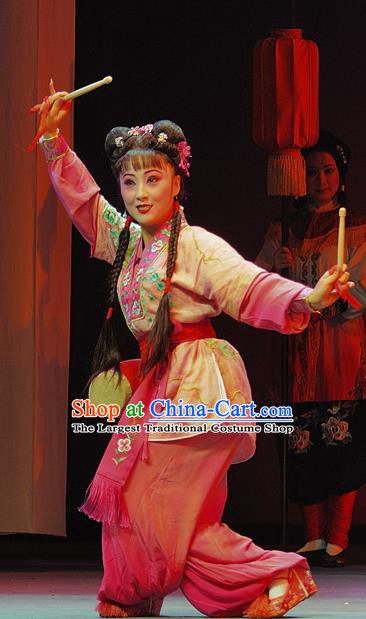 Chinese Sichuan Opera Highlights Maid Lady Garment Costumes and Headdress Wo Hu Ling Traditional Peking Opera Servant Girl Dress Xiaodan Apparels