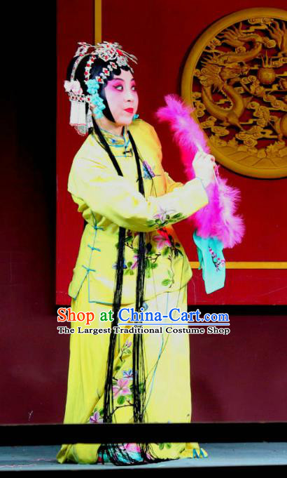 Chinese Sichuan Opera Highlights Actress Garment Costumes and Headdress Shoot Eagle Traditional Peking Opera Hua Tan Dress Young Female Yellow Apparels