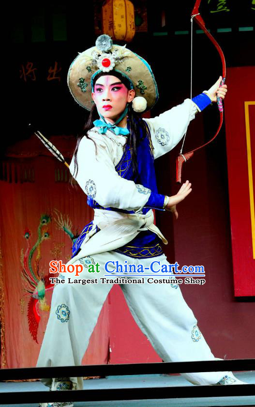 Shoot Eagle Chinese Sichuan Opera Martial Male Apparels Costumes and Headpieces Peking Opera Highlights Swordsman Garment Warrior Hua Rong Clothing
