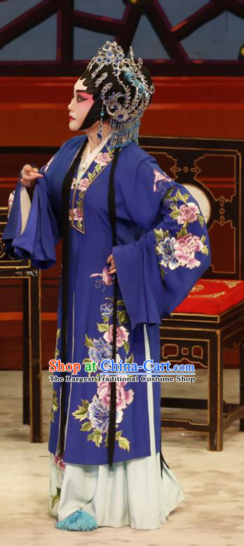 Chinese Cantonese Opera Dame Garment The Lotus Lantern Costumes and Headdress Traditional Guangdong Opera Middle Age Female Apparels Wang Guizhi Blue Dress