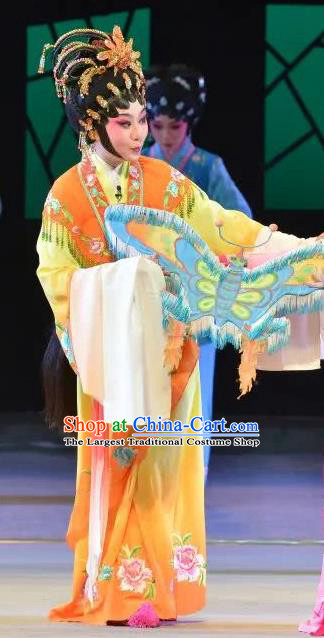 Chinese Cantonese Opera Actress Garment Search the College Costumes and Headdress Traditional Guangdong Opera Young Female Apparels Hua Tan Dress