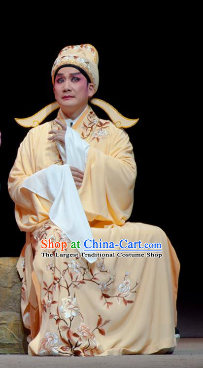 Search the College Chinese Guangdong Opera Xiaosheng Apparels Costumes and Headpieces Traditional Cantonese Opera Scholar Zhang Yimin Garment Niche Clothing