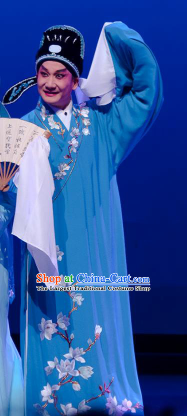 Search the College Chinese Guangdong Opera Xiaosheng Apparels Costumes and Headpieces Traditional Cantonese Opera Scholar Zhang Yimin Garment Niche Blue Robe Clothing