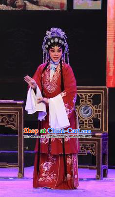 Chinese Cantonese Opera Middle Age Female Garment The Lotus Lantern Costumes and Headdress Traditional Guangdong Opera Actress Apparels Wang Guizhi Blue Dress