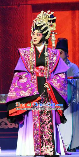 Chinese Cantonese Opera Queen Lv ZHi Garment Gao Emperor of Han Costumes and Headdress Traditional Guangdong Opera Young Female Apparels Empress Dress