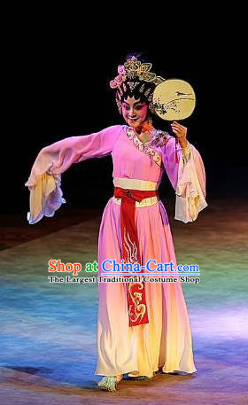 Chinese Cantonese Opera Court Maid Garment Gao Emperor of Han Costumes and Headdress Traditional Guangdong Opera Xiaodan Apparels Palace Lady Pink Dress
