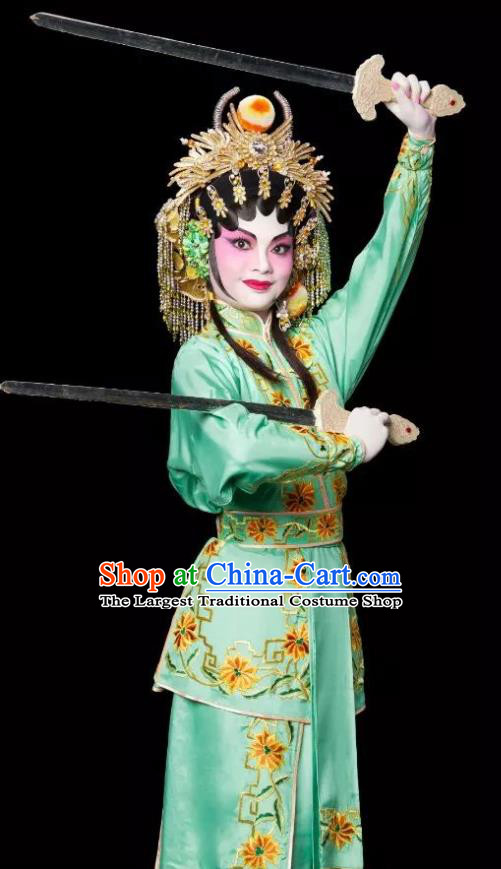 Chinese Cantonese Opera Village Girl Bai Lixiang Garment Costumes and Headdress Traditional Guangdong Opera Young Lady Apparels Martial Female Green Dress