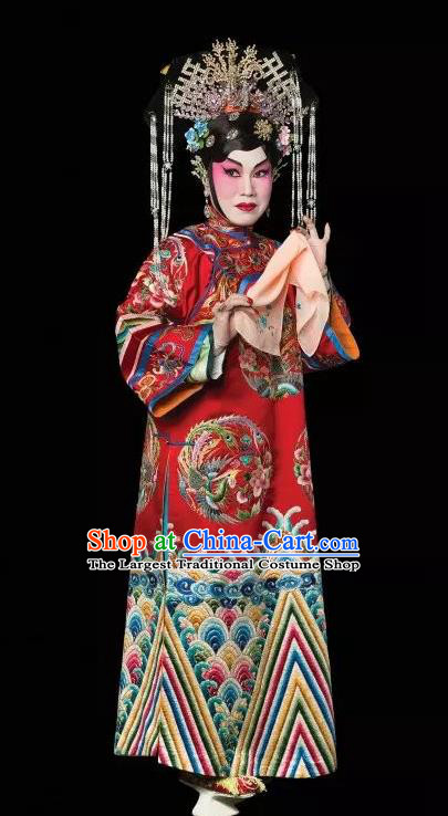 Chinese Cantonese Opera Hua Tan Garment Costumes and Headdress Traditional Guangdong Opera Princess Shanhu Apparels Actress Red Dress