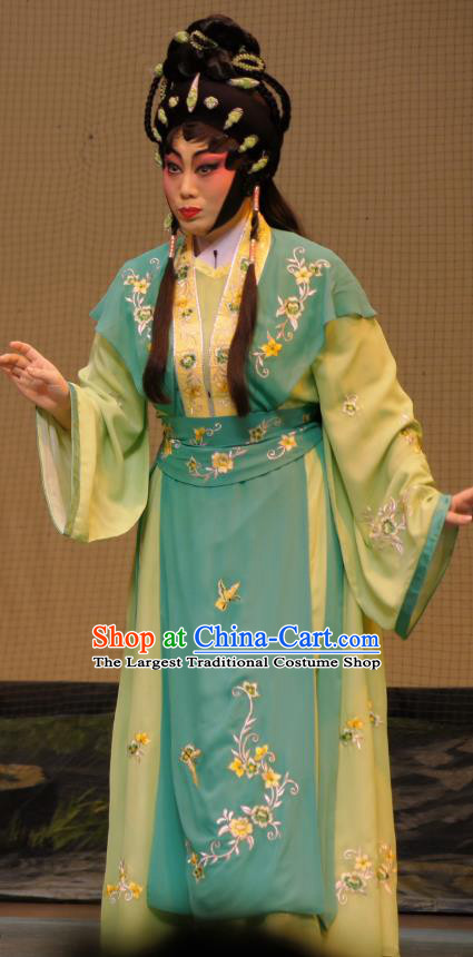 Chinese Cantonese Opera Young Lady Garment Emperor and the Village Girl Costumes and Headdress Traditional Guangdong Opera Diva Apparels Village Girl Zhang Guilan Dress