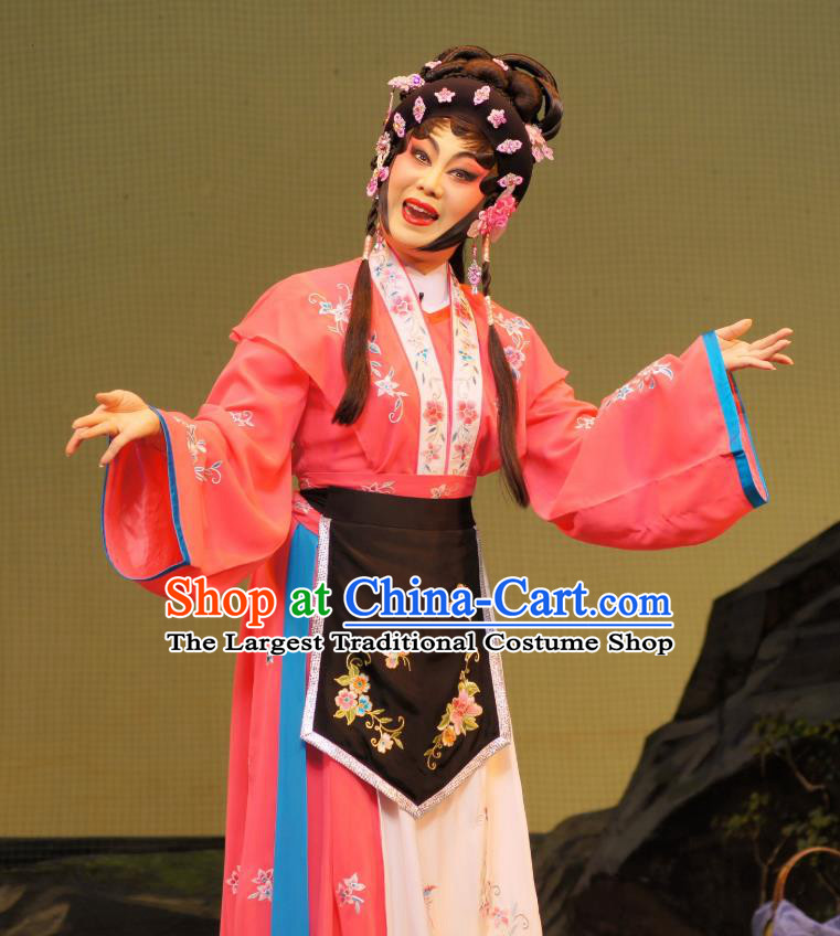 Chinese Cantonese Opera Actress Garment Emperor and the Village Girl Costumes and Headdress Traditional Guangdong Opera Diva Apparels Village Girl Zhang Guilan Red Dress