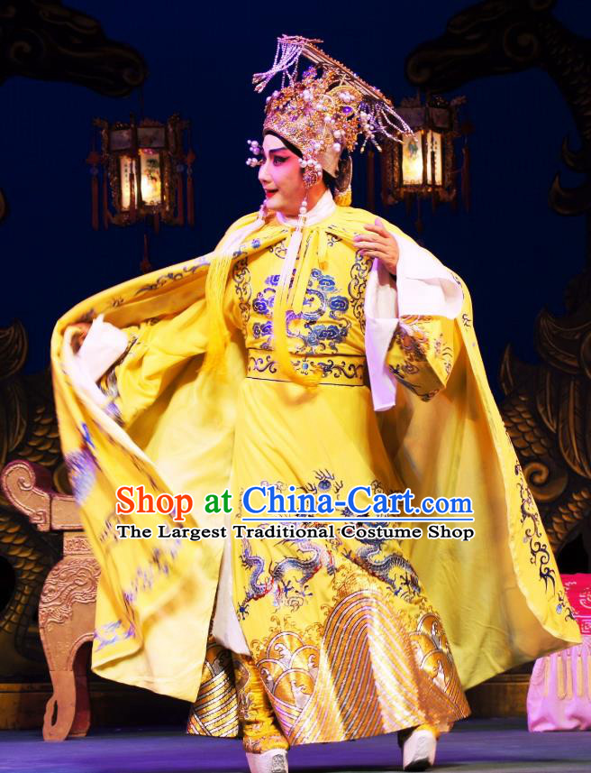 Emperor and the Village Girl Chinese Guangdong Opera Xiaosheng Apparels Costumes and Headpieces Traditional Cantonese Opera Monarch Garment Young Male Clothing