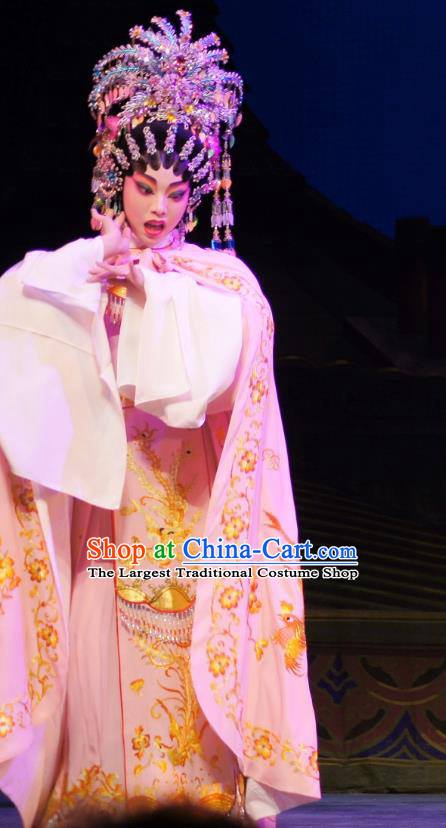 Chinese Cantonese Opera Hua Tan Garment Emperor and the Village Girl Costumes and Headdress Traditional Guangdong Opera Actress Apparels Diva Jia Yunv Dress