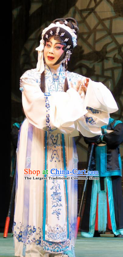 Chinese Cantonese Opera Distress Maiden Garment Emperor and the Village Girl Costumes and Headdress Traditional Guangdong Opera Actress Apparels Diva Zhang Guiying Dress