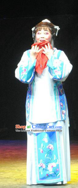 Chinese Cantonese Opera Diva Qiu Yue Garment The Watchtower Costumes and Headdress Traditional Guangdong Opera Young Female Apparels Distress Maiden Dress