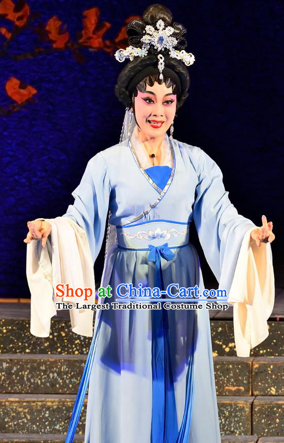 Chinese Cantonese Opera Actress Garment Costumes and Headdress Traditional Guangdong Opera Young Female Apparels Princess Miaoshan Blue Dress