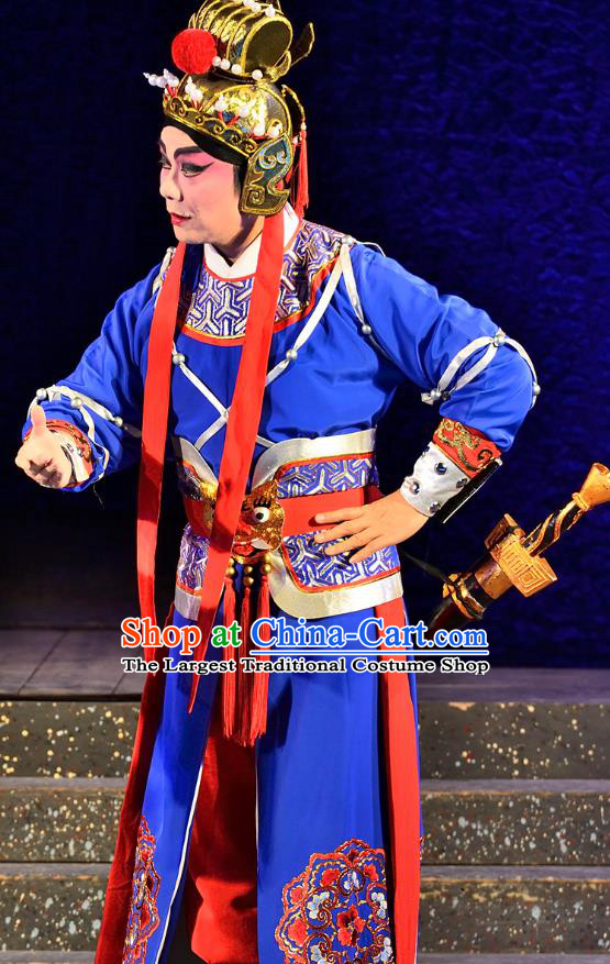 Chinese Guangdong Opera Martial Male Apparels Costumes and Headwear Traditional Cantonese Opera Wusheng Garment General Wei Tuo Blue Clothing