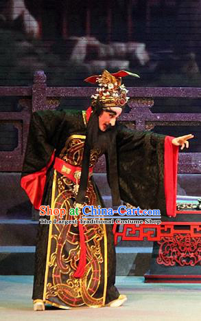Legend of Er Lang Chinese Guangdong Opera King Zhou of Shang Apparels Costumes and Headwear Traditional Cantonese Opera Monarch Garment Elderly Male Clothing