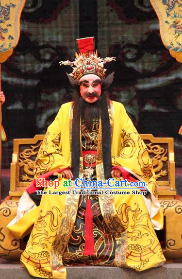 Legend of Er Lang Chinese Guangdong Opera Elderly Male Apparels Costumes and Headwear Traditional Cantonese Opera Monarch Garment King Zhou of Shang Clothing
