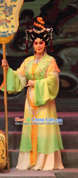 Chinese Cantonese Opera Xiaodan Garment Legend of Er Lang Costumes and Headdress Traditional Guangdong Opera Figurant Apparels Court Maid Dress