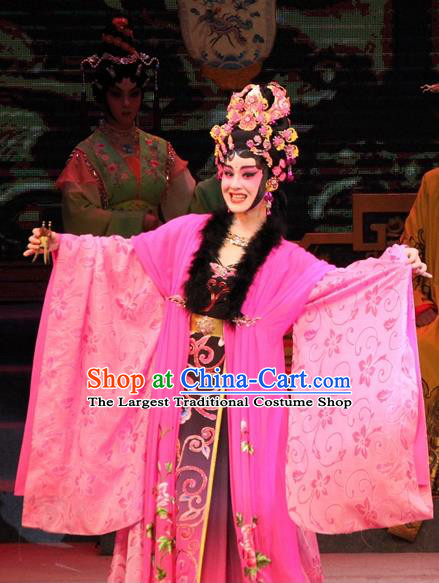 Chinese Cantonese Opera Hua Tan Garment Legend of Er Lang Costumes and Headdress Traditional Guangdong Opera Imperial Consort Da Ji Apparels Diva Rosy Dress