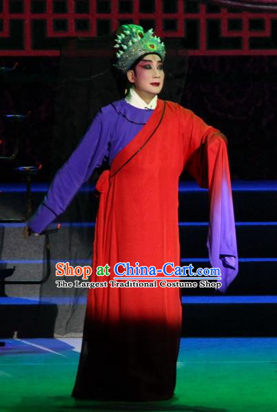 Legend of Er Lang Chinese Guangdong Opera Distress Male Apparels Costumes and Headwear Traditional Cantonese Opera Young Male Garment Xiaosheng Boyi Kao Clothing