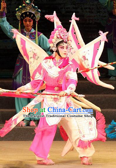 Chinese Cantonese Opera Martial Female Garment Legend of Er Lang Costumes and Headdress Traditional Guangdong Opera Mi Er Apparels Tao Ma Tan Dress with Flags