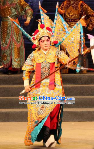 Legend of Er Lang Chinese Guangdong Opera General Armor Apparels Costumes and Headwear Traditional Cantonese Opera Garment Martial Male Kao Clothing with Flags