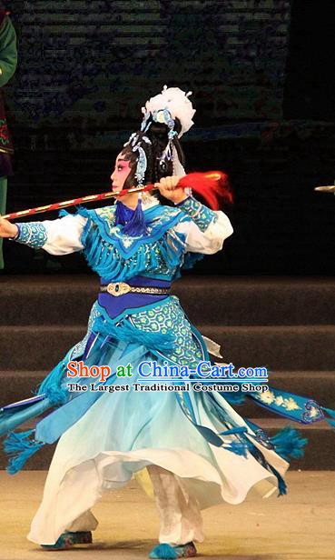 Chinese Cantonese Opera Wudan Garment Legend of Er Lang Costumes and Headdress Traditional Guangdong Opera Mi Er Apparels Martial Female Blue Dress