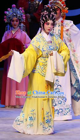 Chinese Cantonese Opera Palace Lady Garment Zhaojun Frontier Song Costumes and Headdress Traditional Guangdong Opera Court Maid Apparels Xiaodan Yellow Dress